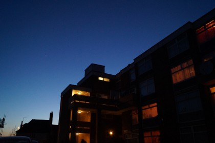 block of flats against night sky - hillington square