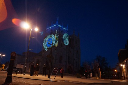 projection mapped art on st. margaret's church, king's lynn