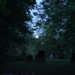 waxing gibbous moon above hardwick cemetery