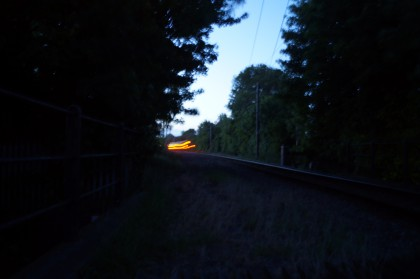 blurred long exposure of train at night