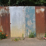 rust and paint on corrugated metal fence around appleton's yard
