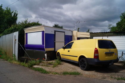caravan and estate car at appleton's yard