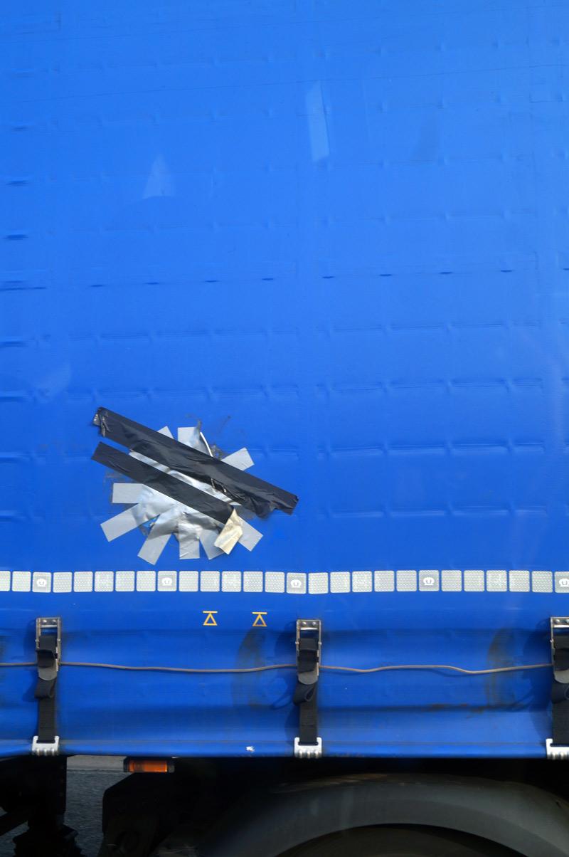 islington street photography lorry trailer canvas tape repair