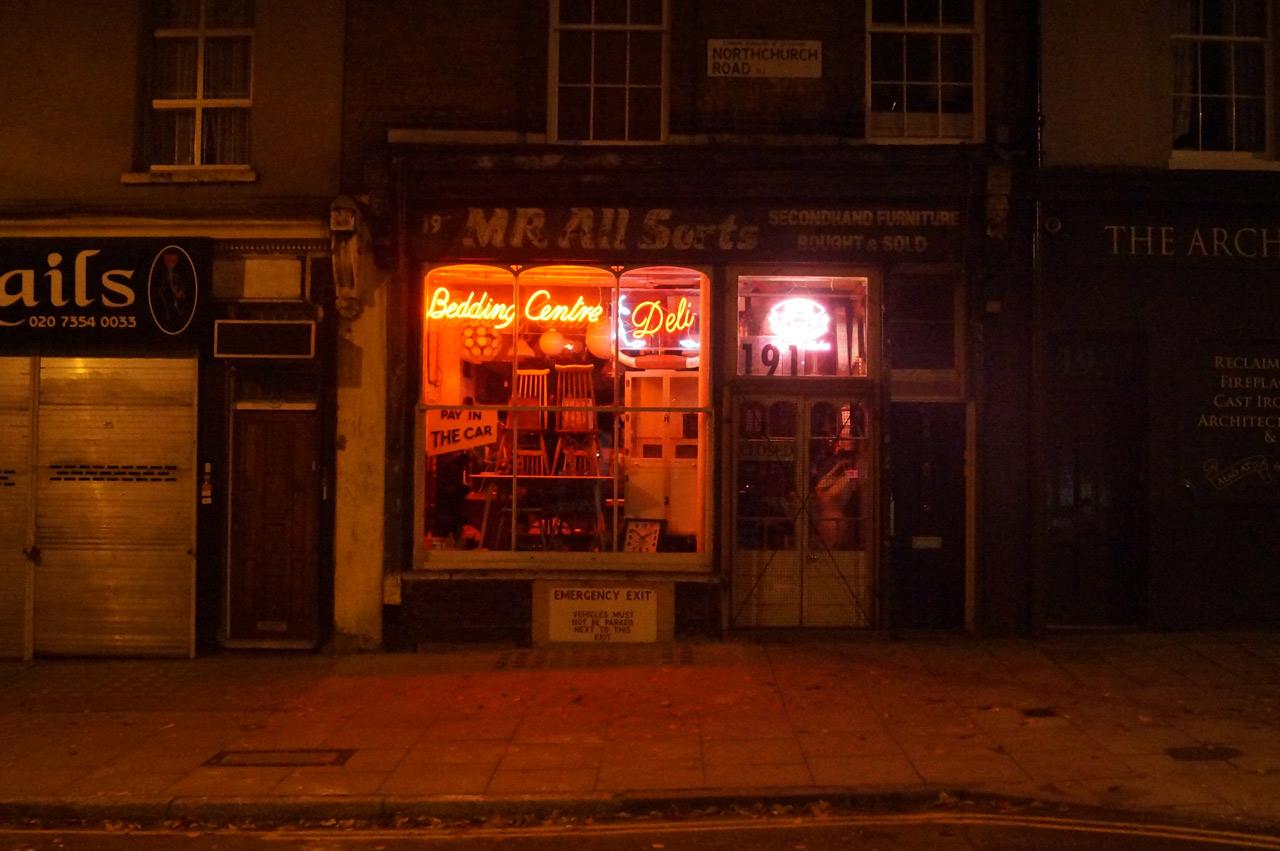 islington night photography mr. all sorts shop facade