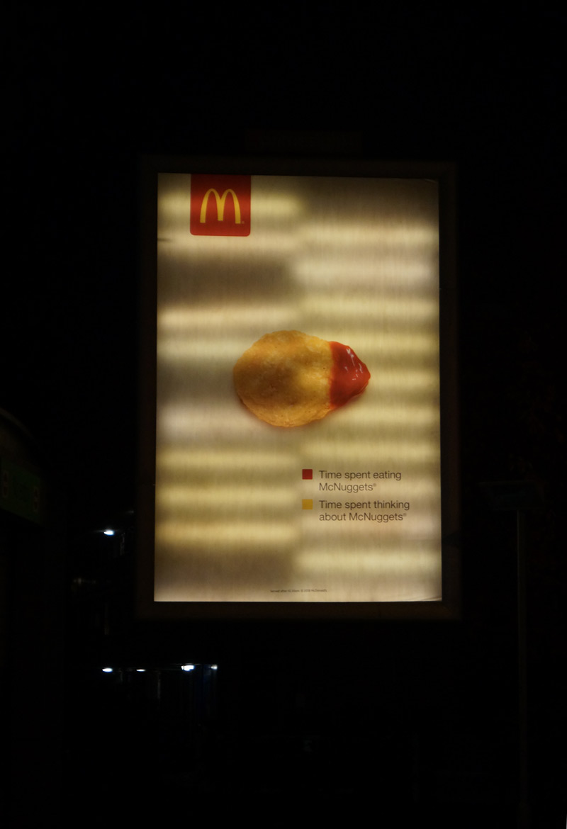 islington night photography back-lit billboard mcdonald's advert