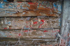 lettering on the timber wreck of the 'Brogozmazadoug'