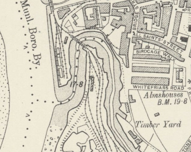 King's Lynn Map circa 1904 showing Nar Loop
