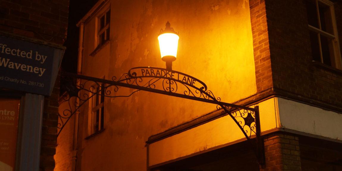 paradise lane kings lynn ironwork sign at night