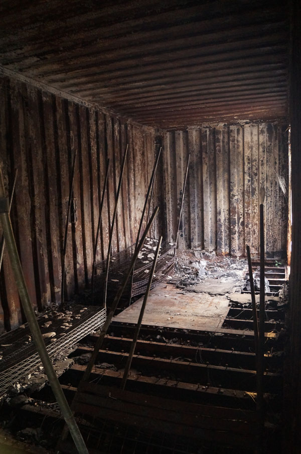 fire damaged storage container interior
