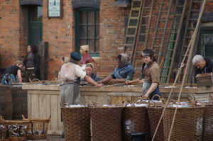 Actors on the set of 'The Personal History of David Copperfield' in King's Lynn
