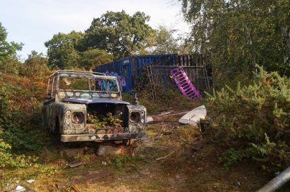 abandoned landrover at derelict leziate park